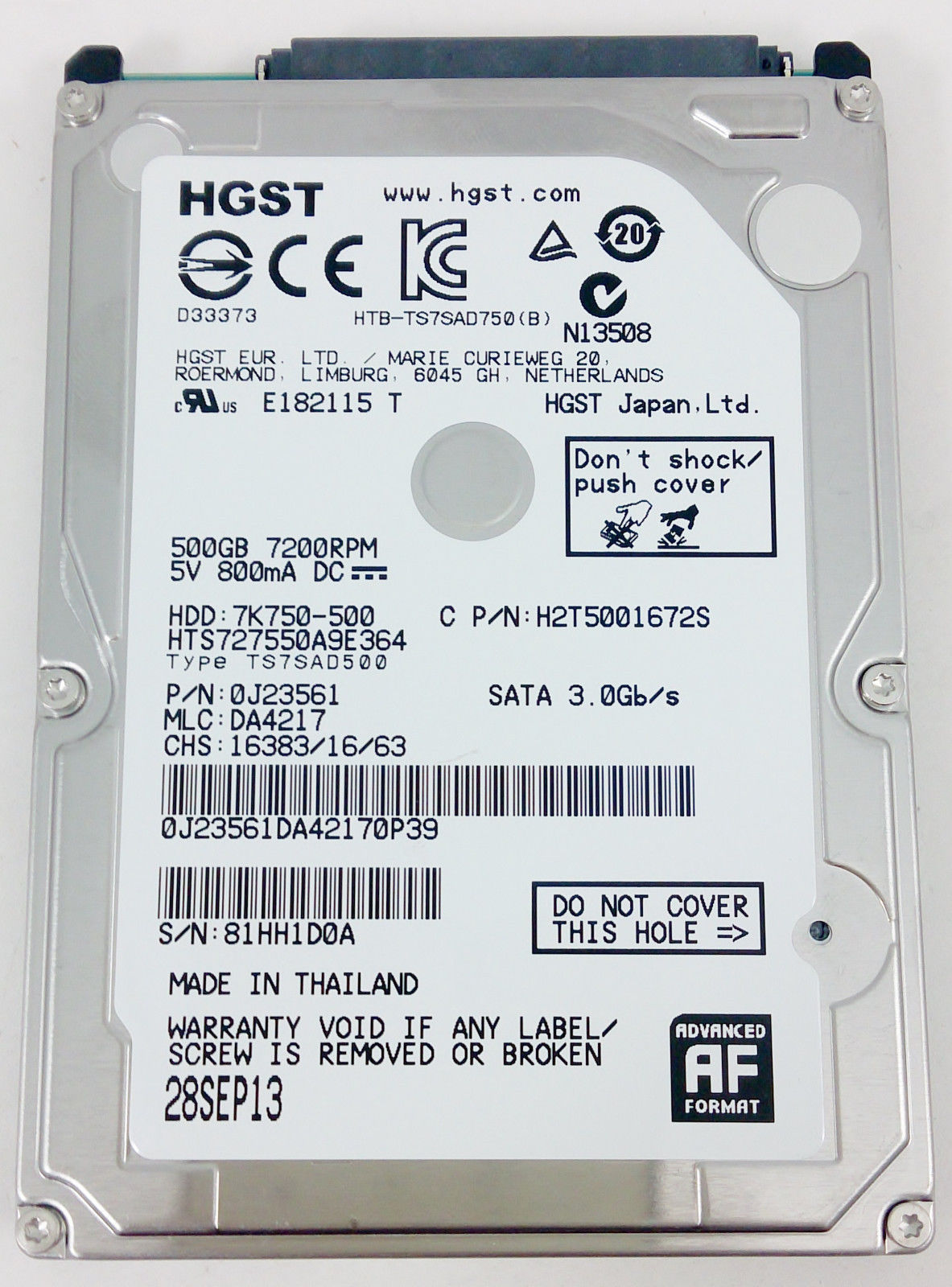 "Hitachi HTS727550A9E364 7K750 500 GB 7200RPM 2.5"" SATA Laptop Hard Drive 0J23561"