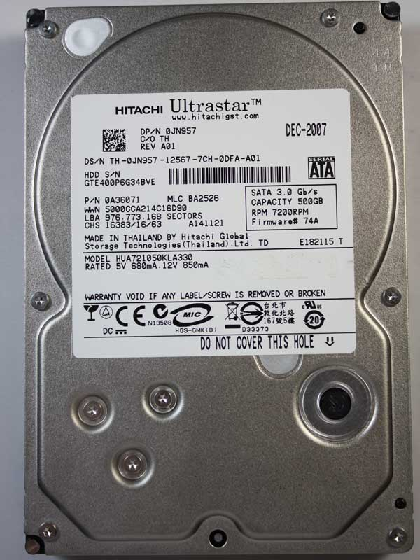 HITACHI Ultrastar A7K1000 HUA721050KLA330 500GB 7200RPM SATA