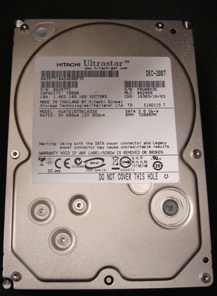 HITACHI Ultrastar A7K1000 HUA721075KLA330 750GB SATA/300 7200RPM 32MB HDD