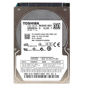 "MK8051GSY (HDD2E24) Toshiba 80GB SATA/300 7200RPM 16MB 2.5"" HDD"