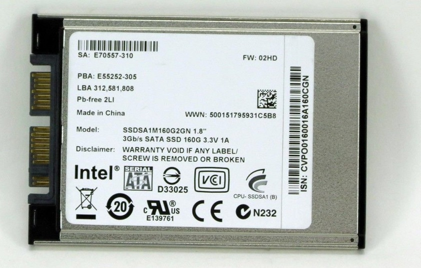 Intel SSDSA1M160G2GN X18-M Series 160Gb Serial-ATA 1.8-Inch Internal Solid State Drive (SSD)