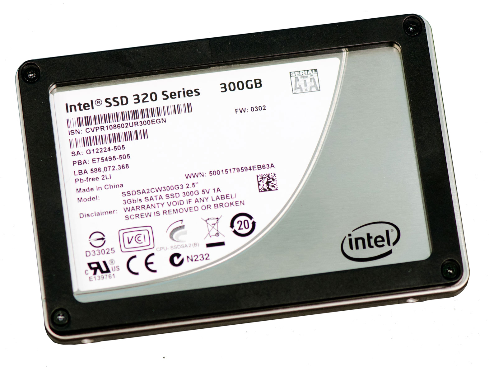Intel SSDSA2CW080G3 320-Series 80Gb Serial ATA-II 3.0Gbps MLC 9.5mm 2.5-Inch Internal Solid State Drive (SSD)