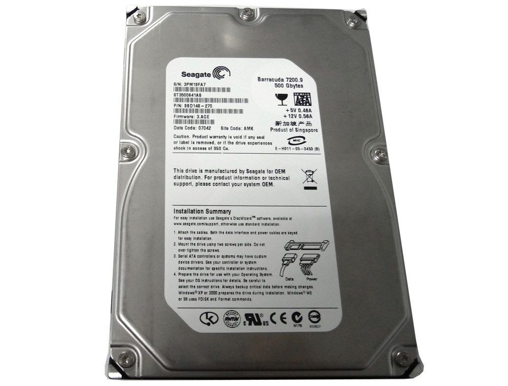 "Seagate ST3500641AS 500GB 16MB Cache 7200RPM 3.5"" SATA2 Hard Drive"