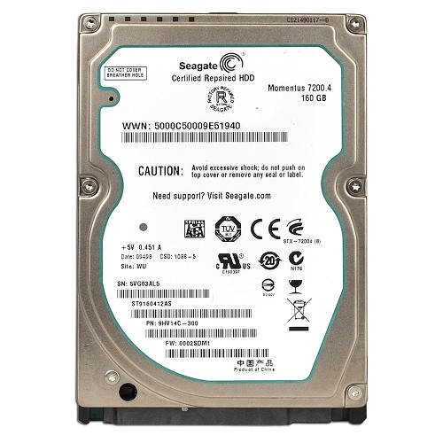 Seagate ST9160412AS 160GB to 200GB Notebook / Laptop Drives Hard Drives