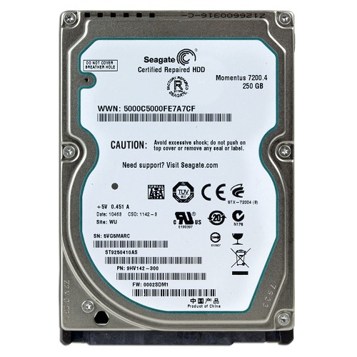 "SEAGATE 250GB 16MB 7200RPM SATA 3.0Gb/s 2.5"" Internal Hard Drive ST9250410A"