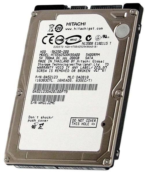 "HITACHI Travelstar 5K250 HTS542520K9SA00 (0A52123) 200GB 5400 RPM 8MB Cache 2.5"" SATA 1.5Gb/s Internal Notebook Hard Drive"