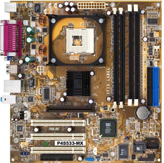 Asus P4S533-MX SIS651 Socket-478 UDMA133 Audio Video Micro-ATX Motherboard With I/O Shield