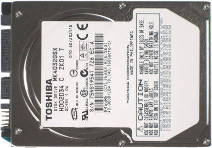 Toshiba Genuine MK4032GSX 40gb 5400 RPM 8 mb buffer 2.5 inch