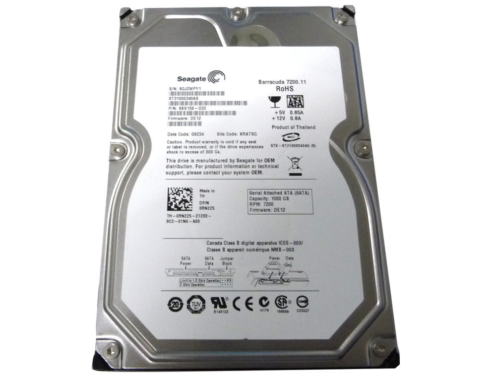 "Seagate ST31000340AS 1TB 32MB Cache 7200RPM SATA2 Desktop 3.5"" Hard Drive"