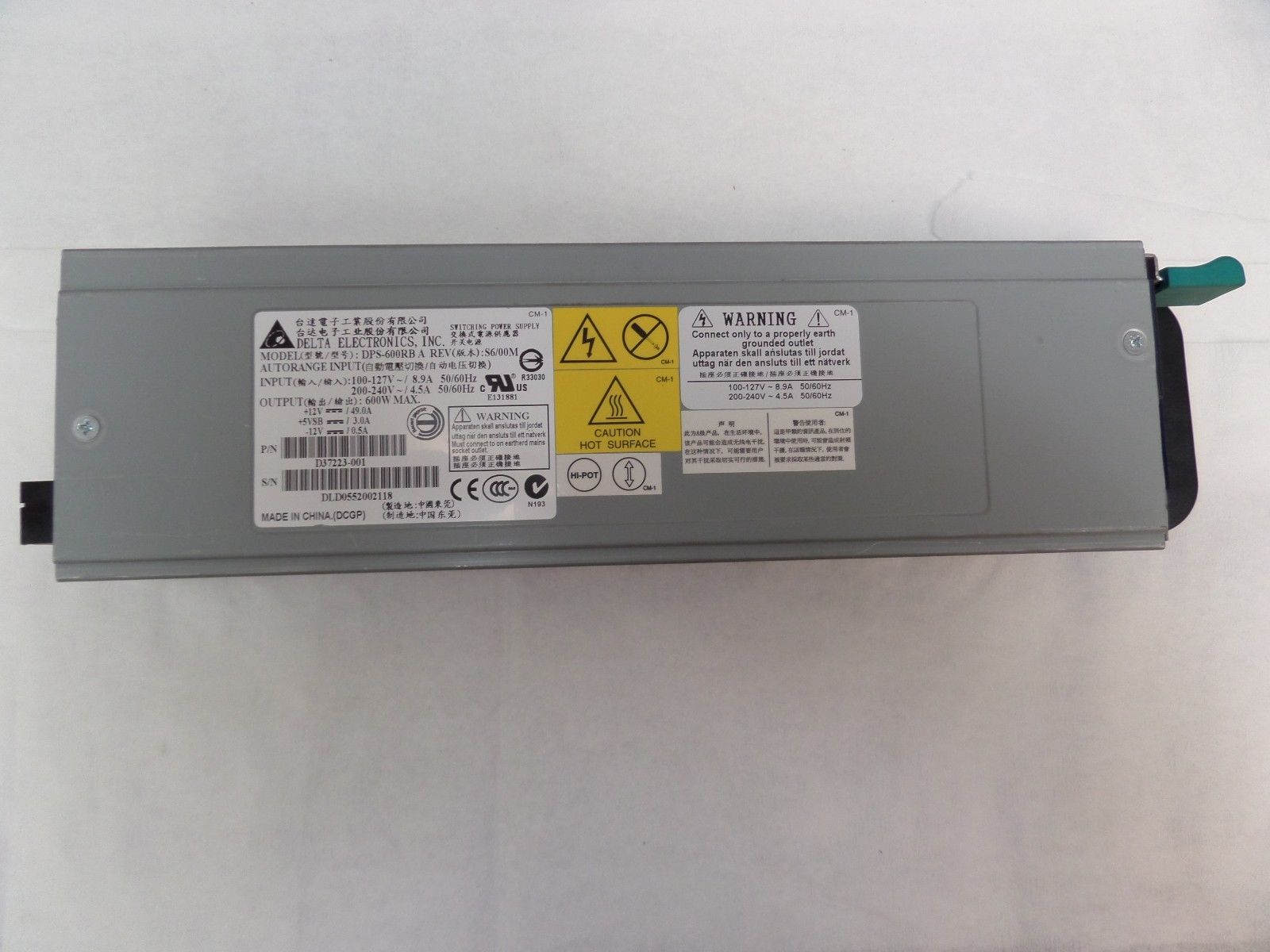 Intel ASR600WPSU DPS-600RB A 600W Redundant Power Supply For SR2520SA Series