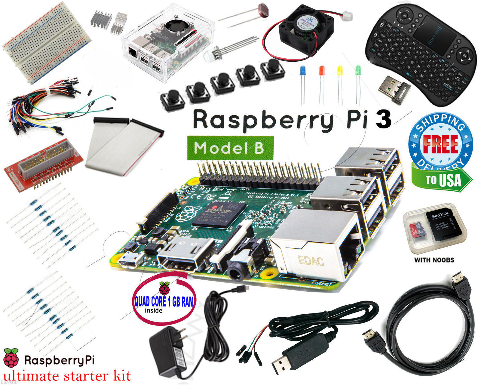 Raspberry Pi 3 Ultimate Starter Kit Wifi HDMI, Breadboard 8GB micro SD Card Class 10 with NOOBS