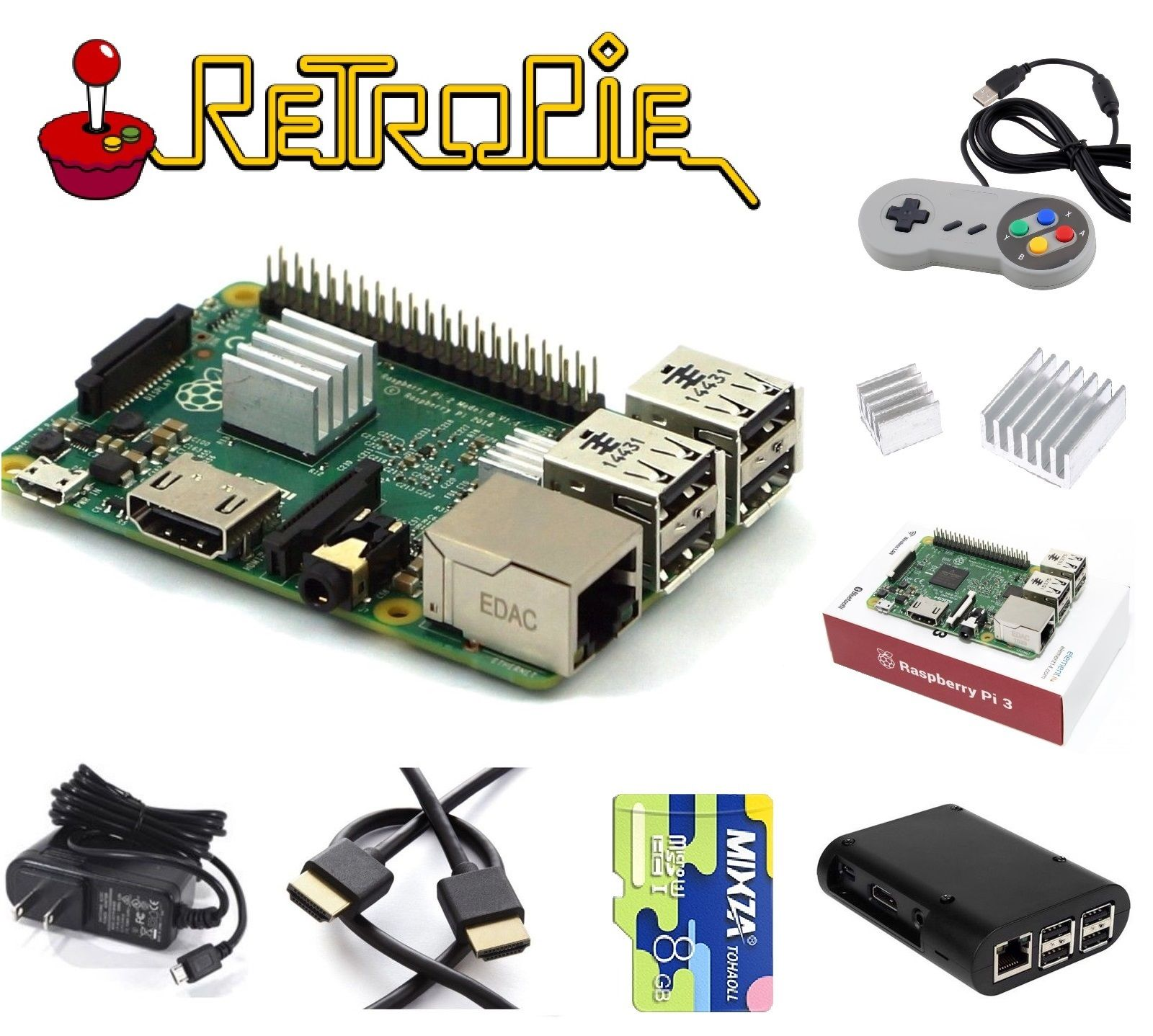 Raspberry Pi 3 Model B RetroPie Game Console Kit with Emulation S